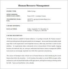 Course Description Template Sample Human Resource Management Outline Ebay Item