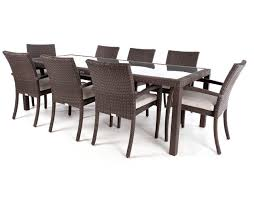 8 person ciro rectangular patio dining table with glass surface