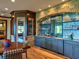 Rustic Blue Kitchen Cabinet With Wooden Floor And Ceiling Lighting