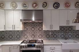 small kitchen decoration using light blue subway moroccan tiles