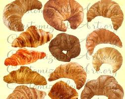 Croissant Clipart Digital Clip Art Breakfast French Pastries Chocolate Images Graphics Pastry