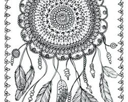 Instant Download Dreamcatcher Digital File Adult Coloring Page Dream Art