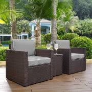 Crosley Furniture KO BR GY Palm Harbor 3 Piece Resin Wicker Outdoor Seating Set