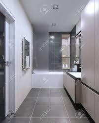 teure high tech badezimmer trend beige matt möbel mit dunkelgrauem dekor kombiniert bad und dusche geflieste wände halogenlen 3d übertragen
