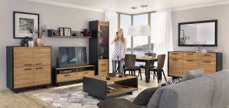 wohnwand schrankwand wohnzimmer möbel lovio schwarz eiche led