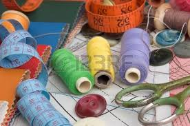 Sewing Supplies The Background Patterns Stock Picture