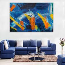 große größe druck wand malerei untitled blau orange gelb abstrakte wand kunst bild für wohnzimmer malerei kein rahmen