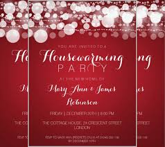 Housewarming Party Modern Dots Red Invitation Card