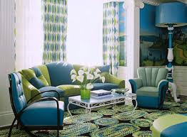 Turquoise And Brown Living Room Ideas Yellow Floral Pattern Fabric Comfy Cushions Black Lacquered Wood Side Table White Laminated Wooden Shelf Blind