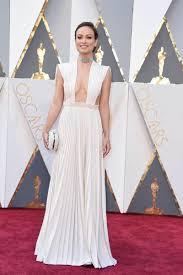 olivia wilde pleated white celebrity prom dress 2016 oscars red