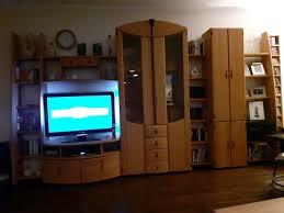 schrankwand wohnzimmer wohnwand buche