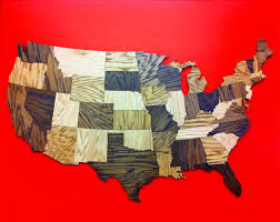 HUGE 6 Wood USA Map Puzzle Jigsaw Geography Rustic Decor