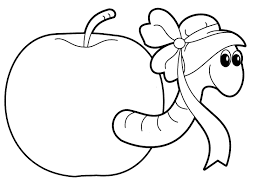 Worm In The Apple Coloring Pages