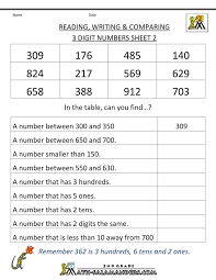 Second Grade Math Worksheets Reading Writing Comparing 3 Digits 2