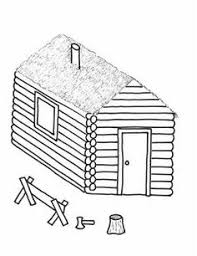 Log Cabin Coloring Pages Sketch Template