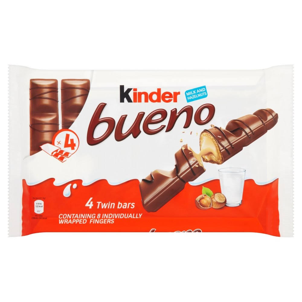 Kinder Bueno Milk Chocolate and Hazelnuts Bar - 43g, 17ct