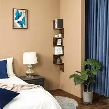 vasagle eckregal mit 5 ebenen für die wand holzregal für küche schlafzimmer wohnzimmer lernzimmer büro vintage dunkelbraun songmics