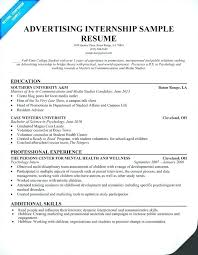 Internship Resume Sample For College Students Student