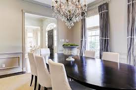 Gray Dining Room With Purple Curtains