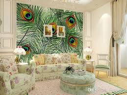 großhandel papel de parede design schöne farbige große künstliche pfauenfedern bilder muster hause aufkleber wandmalereien tapete xunxun66 13 83