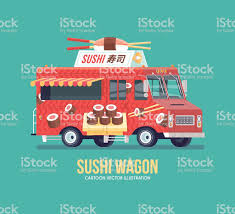 100 Sushi Truck Colorful Vector Japanese Street Cuisine Traditional