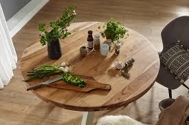 finebuy design esszimmertisch rund ø 120 cm x 75 cm massiv holz landhaus esstisch 4 personen küchentisch tisch für esszimmer braun