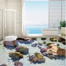 beibehang nach 3d bodenbelag wand papier unterwasser welt 3d boden schlafzimmer badezimmer wand wasserdicht self adhesive wallpaper