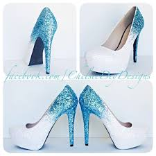 ice aqua turquoise blue and white ombre fade two tone glitter pump