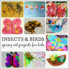 Spring Art Projects For Kids Featuring Insects And Birds