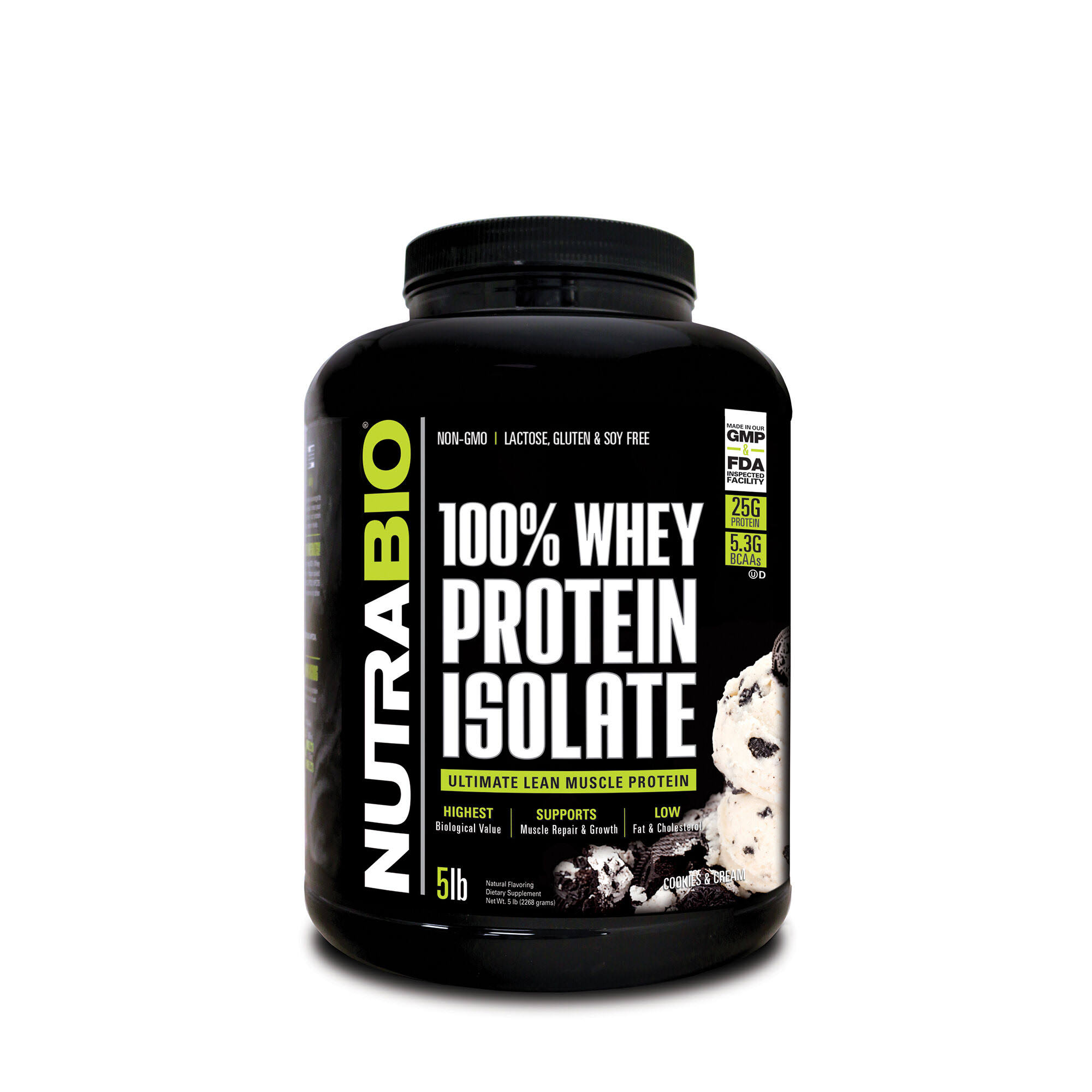 NutraBio 100% Whey Protein Isolate - Cookies and Cream