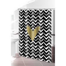 Gold And White Chevron Curtains by Black Gold Chevron Shower Curtain With Heart At Home At Home