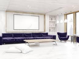 wohnzimmer zwischen mit gerahmte bild an der wand bücherregal und lange sofa konzept der komfortablen zuhause 3d rendering attrappe lehrmodell