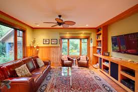 Red Leather Couch Living Room Ideas by Red Leather Sofa Family Room Traditional With Book Shelves