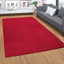 teppich weicher kurzflor teppich für wohnzimmer soft waschbar in rot