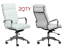 eames replica white pu leather high back cusion office chairs