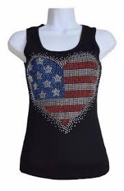 Super Cute Rhinestone Bling Big Heart American Flag Patriotic Tank Top From The Rustic Shop