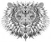 Printable Adult Difficult Lion Head Coloring Pages