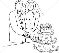 cutting the wedding cake clipart 8