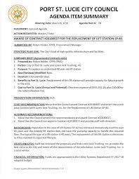 100 Trucking Contracts PORT ST LUCIE CITY COUNCIL