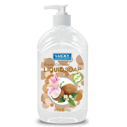 Lucky Super Soft Clear Liquid Soap, Coconut - 14 fl oz bottle