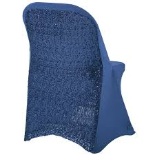 Folding Glitz Sequin Spandex Chair Cover - Navy Blue (Deal Of The Week.  Ends 03-29)