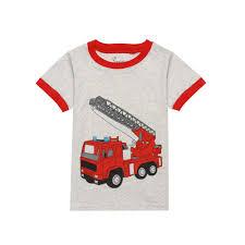 Summer Boys Short Sleeve Pajamas Kids Cotton Fire Truck Printing ...