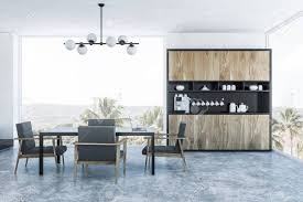 Interior Of Modern Dining Room With White Walls, Panoramic Windows,..