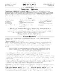 Sample Resume For Kindergarten Teacher K New Samples India
