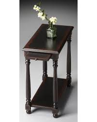 holiday special slim wooden chairside table w pull out tray