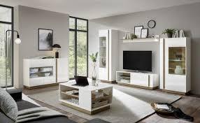 wohnzimmerset fresh weiß hochglanz grandson oak dekor 290 270 x194x40cm fernsehwand