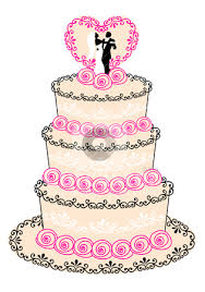wedding cake with couple heart and roses clipart