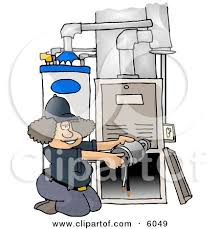 Woman Repairing A Broken Furnace Attached To Water Heater Clipart Picture By Djart