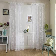 chlove transparenter vorhang blumen spitze erker vorhänge fenster gardine für wohnzimmer schlafzimmer 200cmx100cm hxb 1er set weiß