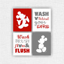 Vintage Mickey Bathroom Decor by The Color Is Customizable This Listing Is For A Set Of 4